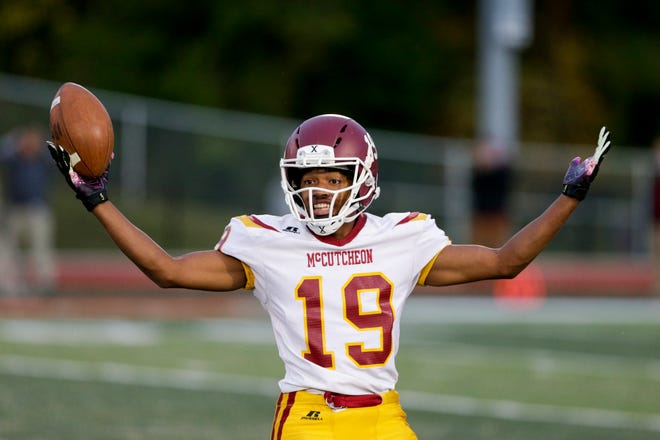 McCutcheon's Bryndan Perry (19) reacts to a turnover during the first quarter of an IHSAA football game, Friday, Oct. 2, 2020 in West Lafayette.