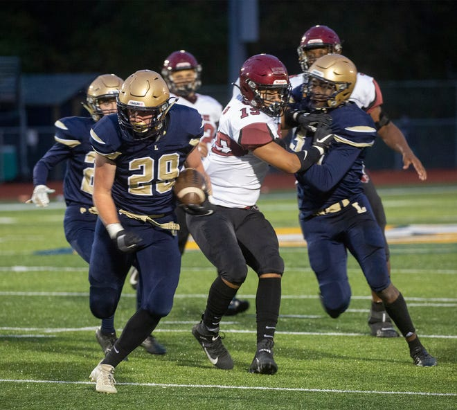 Lancaster senior fullback Taylor Kirkpatrick rushed for a career-high 192 yards and three touchdowns to help the Golden Gales defeat rival Newark, 46-15 last Friday night.