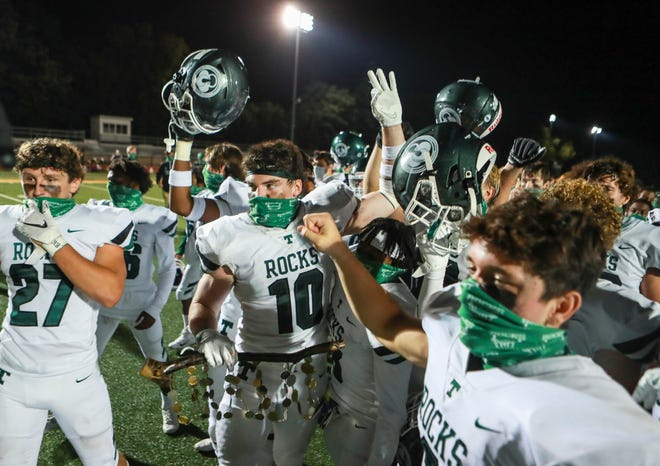 Scenes from the Trinity-St.X rivalry game on Friday night. The Shamrocks cruised past the host Tigers 48-10 in a reduced attendance game due to Covid-19 concerns. Oct. 2, 2020