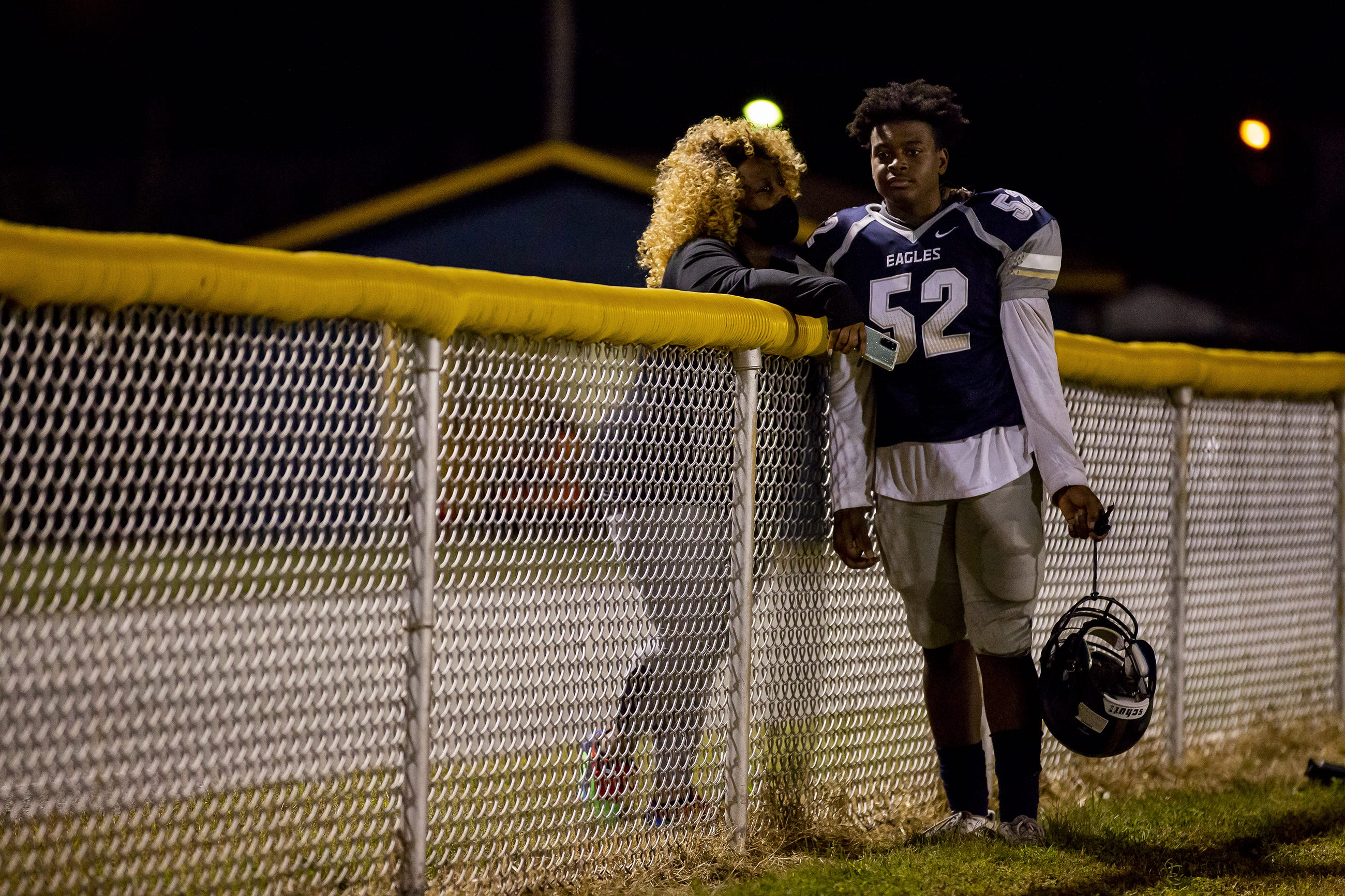 Schard Kelly encourages her son Juan-tay Watters after Shawnee lost to Jackson County on Oct. 2, 2020.