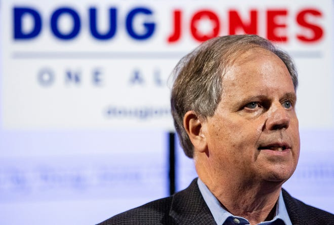 Sen. Doug Jones holds a Drive-In the Vote event in Tuskegee, Ala., on Friday evening October 2, 2020.