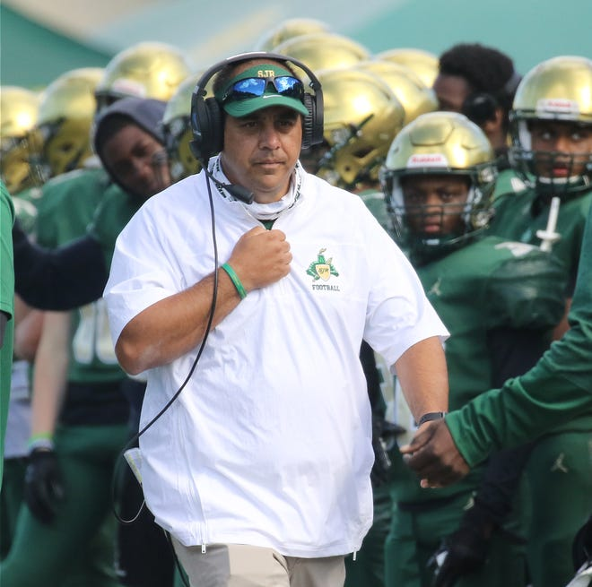 St Josephs head coach Dan Marangi in the first half of a game that saw Bergen Catholic defeat St. Joseph's 24-21, spoiling the Green Knights fourth quarter comeback attempt.
