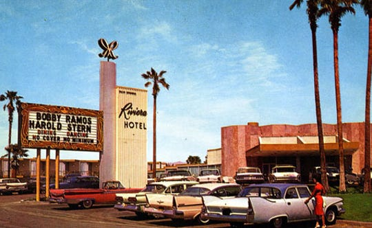 The Riviera Hotel advertises the appearance of Harold Stern and his $100,000 Stradivarius violin.