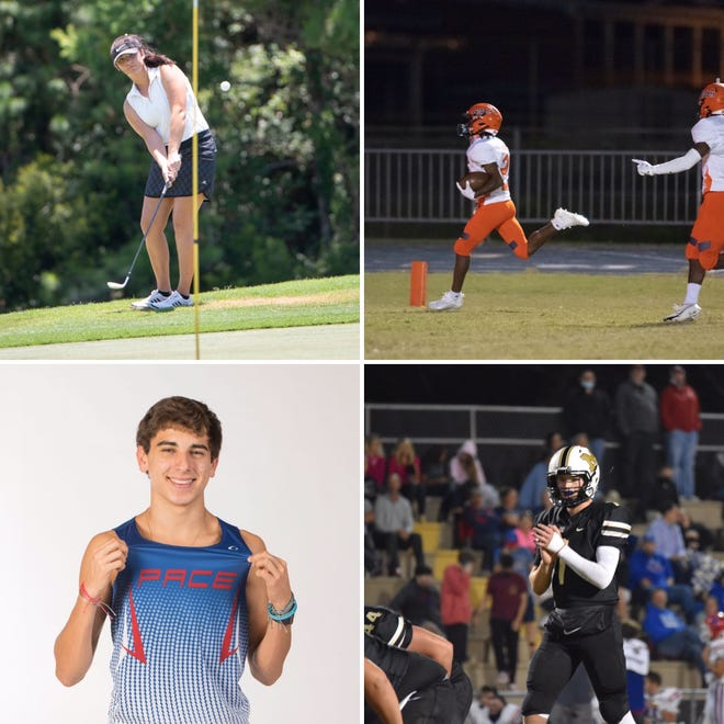 Gulf Breeze's Taylor Reeves (top left), Escambia's Shawn Blackwell (top right), Pace's Francisco Ramirez (bottom left) and Milton's Tyler Buchanan (bottom right) are nominees for the PNJ Athlete of the Week poll.