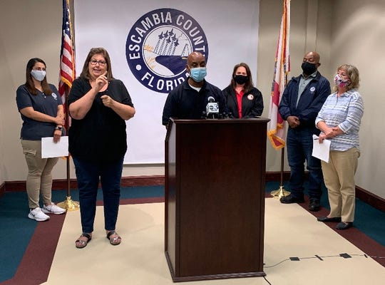 Jeff Coleman, FEMA's Federal Coordinating Officer, speaks during a press conference Saturday afternoon at the Escambia County Operations center.