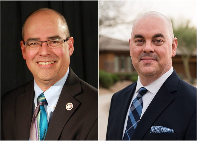 Eddie Cook (left) and Aaron Connor, candidates for Maricopa County assessor.