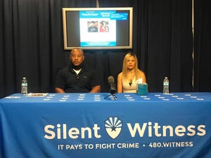 Tim and Renee Brookshire appeal to the public for information on their son's death during a news conference at Phoenix police headquarters on Saturday, Oct. 3, 2020.