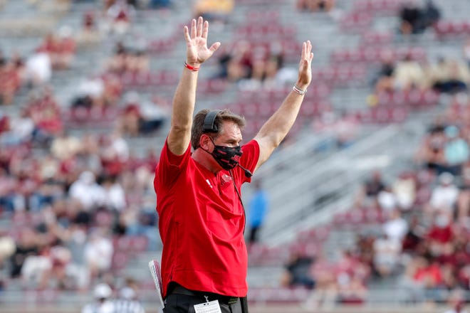 TALLAHASSEE, FL - OCTOBER 3: Head Coach John Grass of the Jacksonville State Gamecocks celebrates after a score during the game against the Florida State Seminoles at Doak Campbell Stadium on Bobby Bowden Field on October 3, 2020 in Tallahassee, Florida. (Photo by Don Juan Moore/Character Lines) John Grass
