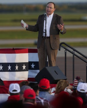 U.S. Rep. Tom Tiffany addresses the crowd before President Donald Trump's campaign rally on Thursday, September 17, 2020, at the Central Wisconsin Airport in Mosinee