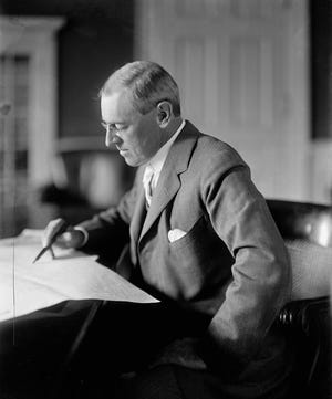 President Woodrow Wilson, who'd campaigned for president in 1916 opposing U.S. entry into World War I, led his nation into the war in 1917. He contracted the flu after arriving in Paris in April1919 to join Big Four peace talks.'