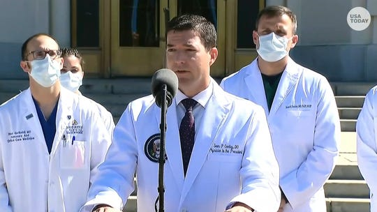 "White House physician Sean P. Conley gave an update on President Trump's health from Walter Reed hospital, saying he was ""doing very well."""