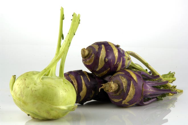 Kohlrabi, in green and purple. The vegetable is technically not a bulb, but instead an above-ground stem. (Alex Garcia/Chicago Tribune/TNS)