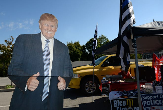 Beaver County's Republican Party held a Trump Pop-Up merchandise event Saturday in the parking lot of the Trinity Building in Beaver. Climo Catering of New Sewickley had a life-size cardboard cutout of the 45th president available for photos outside of their tent.