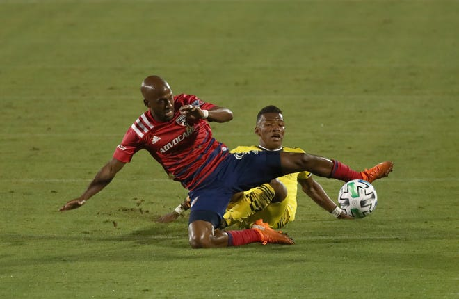 FC Dallas forward Fabrice-Jean Picault (9) and Columbus Crew midfielder Luis Diaz (12) battle for the ball during the first half at Toyota Stadium on Saturday, Oct. 3, 2020 in Dallas.