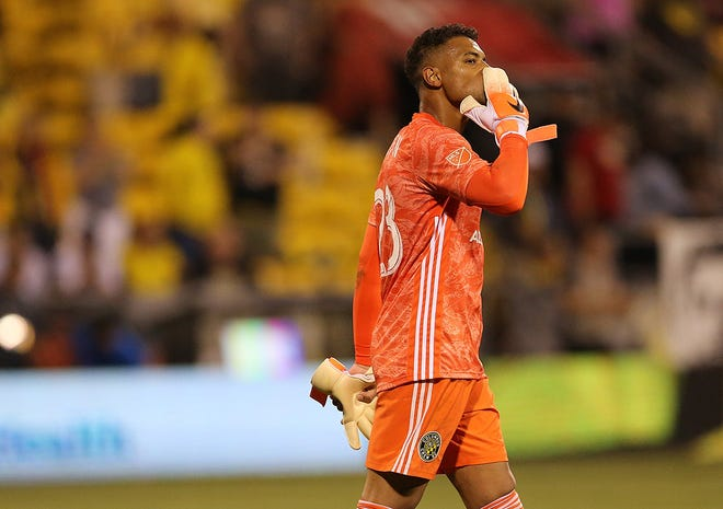 Zack Steffen blows a kiss to fans in Mapfre Stadium after his last match as a Crew goalkeeper on June 1, 2019.