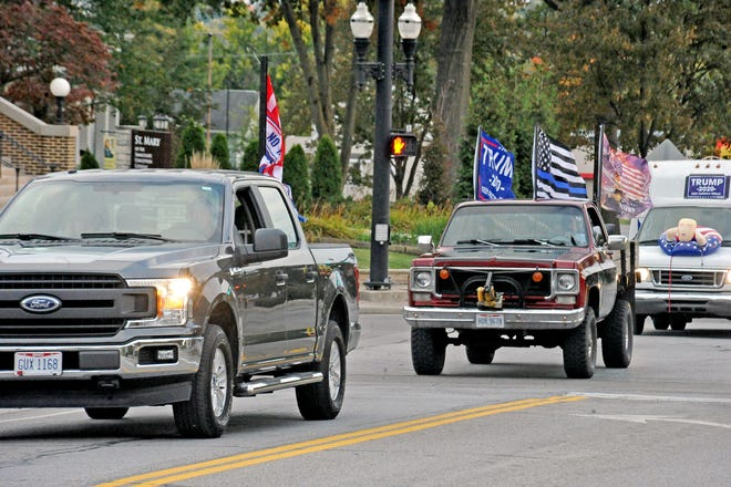 All kinds of vehicles decorated with Trump flags were in Saturday evening's parade in support of the President in Wooster.
