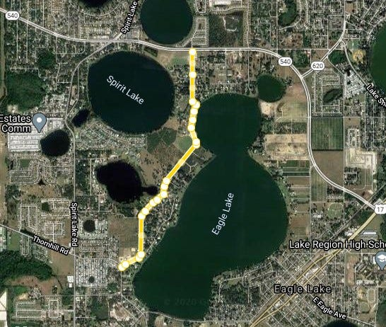 """Crystal Beach Road near Winter Haven, where a previously rejected development was approved under a part of county codes dealing with """"residential infill."""""""