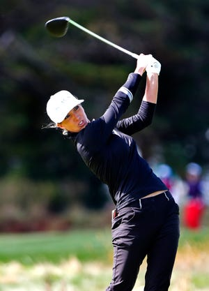 Mel Reid hits from the fourth tee during the final round of the Shoprite LPGA Classic tournament Sunday in Galloway, N.J.