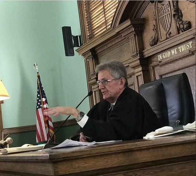 Former Ontario County Court Judge William Kocher on the bench. Kocher is currently running for Town Justice of Victor, a position he has held prior to his appointment to the county court in 2006.