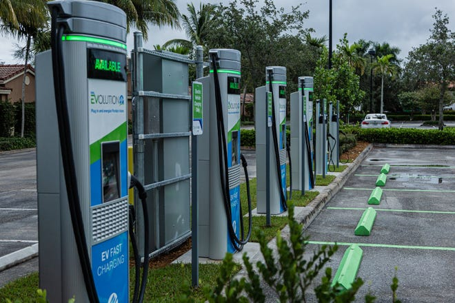 FPL's new EVolution charging station opened Friday at Midtown in Palm Beach Gardens. There are four Level 3 (fast) charging stations, and two Level 2 (slower charging) stations at the site. Customers will be charged about 30 cents per kilowatt hour to charge their electric vehicles.