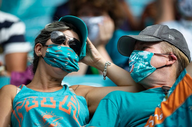 Dolphins fans at Hard Rock Stadium for the game against the Seattle Seahawks.