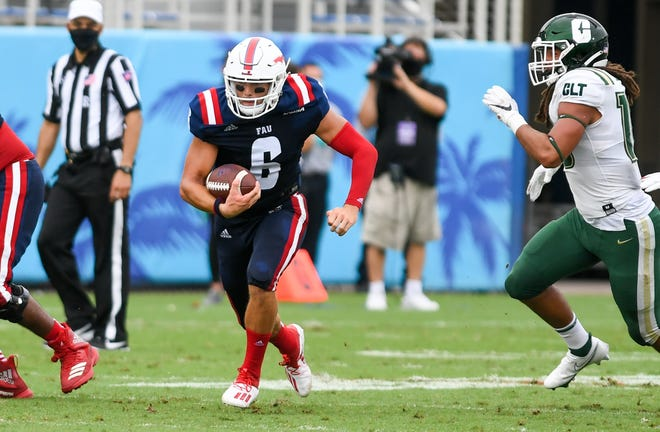 Florida Atlantic Owls quarterback Nick Tronti (6) rushes during a 21-17 win over Charlotte on October 3. Tronti struggled in last week's loss to Marshall, but will look to turn it around against UTSA on Saturday.