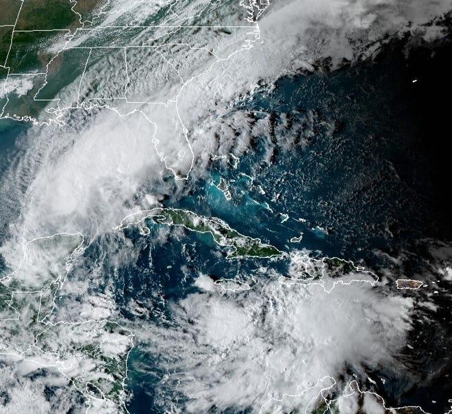 Satellite image of disturbance over Central Caribbean.