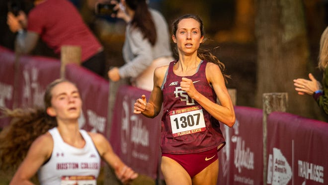 Addison Coggins' team-best fourth-place finish propelled the women's cross country team to a victory in the FSU Invitational. (Photo: FSU Athletics)