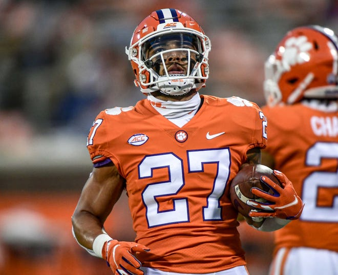 Clemson running back Chez Mellusi(27) warms up before the game with Virginia in Memorial Stadium, Oct 3, 2020; Clemson, South Carolina, USA;  at Memorial Stadium.