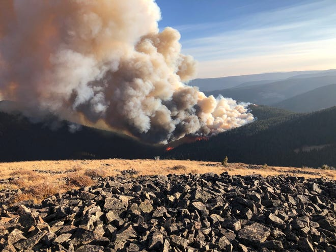 Hunters are being advised to avoid an area in the Little Bel Mountains in Judith County where a fire was reported on the Judith Musselshell Ranger District of Helena-Lewis and Clark National Forest Saturday. The Yogo Fire, which was more than 700 acres Sunday, is located  1.5 miles south of Yogo Peak.