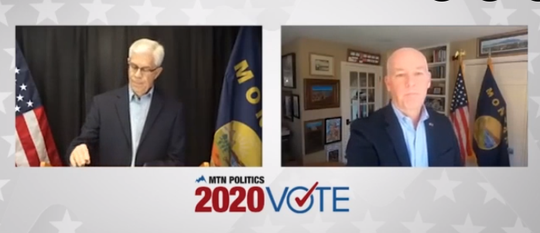 Democrat Mike Cooney, left and Republican Greg Gianforte square off Oct. 3 for a televised gubernatorial debate.