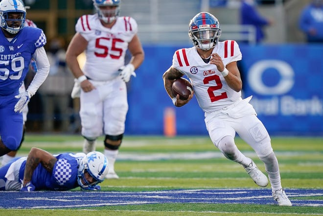 Quarterback Matt Corral is off and running during Mississippi's win over Kentucky last Saturday in Lexington, Ky.