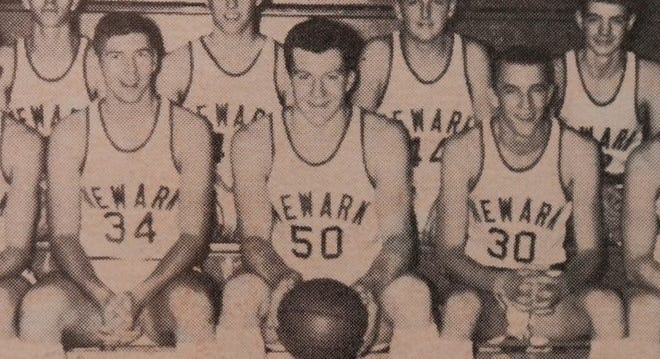 Jim Tyrer (50) is shown with his Newark Wildcats' basketball team.