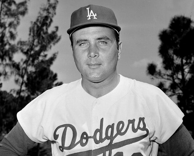 In this April 1965 file photo, Los Angeles Dodgers pitcher Ron Perranoski poses. Perranoski, one of the Dodgers' greatest lefthanded relievers of all-time, passed away at the age of 84 on Friday, Oct. 2, 2020, at his home in Vero Beach, Fla.