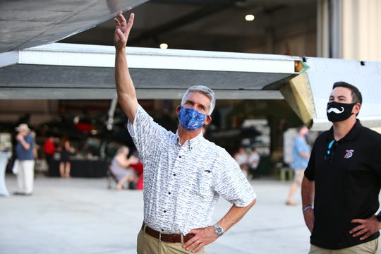 USAF retired F-117 Stealth Pilot Ken Dwelle talks about a demilitarized F-117 Nighthawk upon its arrival to the permanent collection at the Palm Springs Air Museum in Palm Springs, Calif., on Saturday, October 3, 2020.