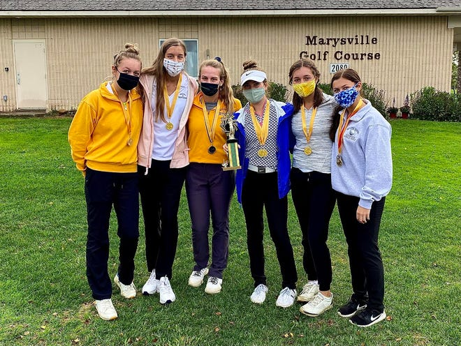 The Port Huron Northern girls golf team win the St. Clair County championship on Wednesday at Marysville Golf Course. Pictured (left to right) are Emma Harris, Megan Schumacher, Karly Ward, Madison Bajis, Lucy Harris and a Maddy Hemby.