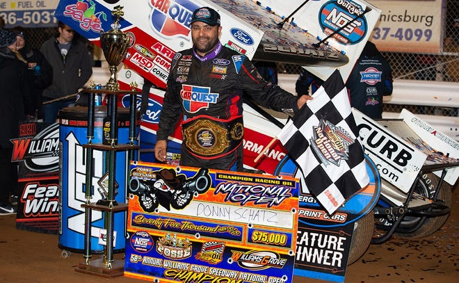 Donny Schatz is seen here after winning the Williams Grove National Open on Saturday night.