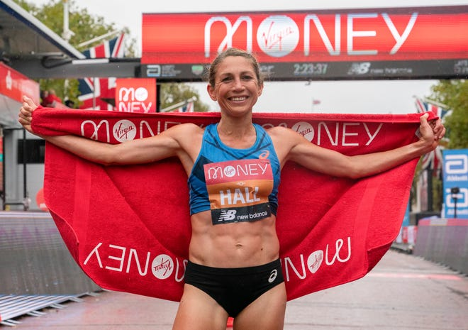 Sara Hall celebrates second place in the Elite Women's Field of the London Marathon.