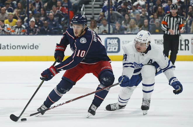 Blue Jackets center Alexander Wennberg (10) has been the subject of reports that the team is considering buying out his contract.