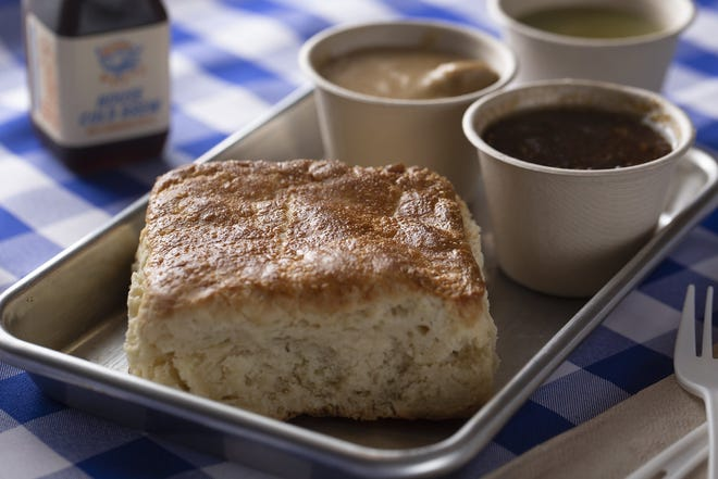 Gravy Flight with biscuit from Boxwood Biscuit Co.