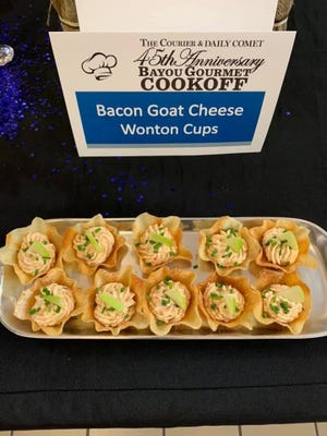 Beau Manno's Bacon Goat Cheese Wonton Cups, submitted for the 2020 Bayou Gourmet Cook-Off.