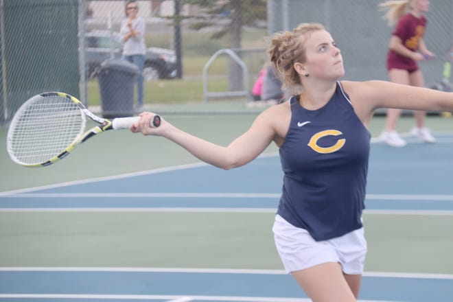 Catherine Tiedemann and the Crookston girls' tennis team is moving on to the Section 8A Semifinals after sweeping Parkers Prairie on Monday.