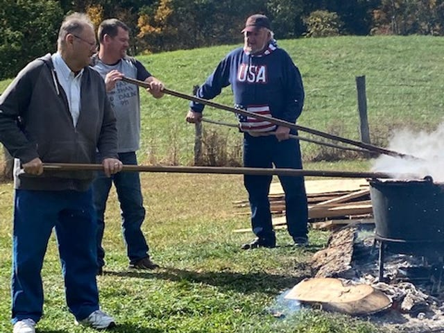 Mt. Carmel United Methodist Church held its annual Apple Butter Stirring.  They made apple butter and apple dumplngs. The event has been held for more than 30 years.