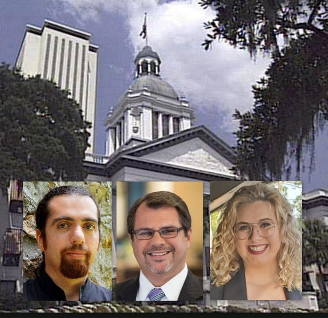 Candidates for Florida House of Representatives District 25 in 2020 are, from left, Libertarian Joe Hannoush, incumbent Republican Tom Leek and Democrat Sarah Zutter.