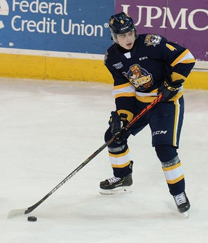 Jamie Drysdale of the Erie Otters looks to pass against the Oshawa Generals on Feb. 15, 2020, at Erie Insurance Arena. Drysdale was selected sixth overall by the Anaheim Ducks in the NHL Draft on Tuesday, Oct. 6.