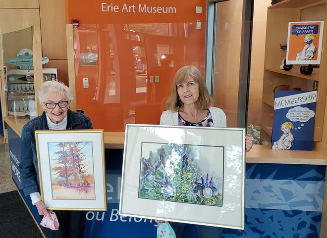 Erie County artist Wilda Sundberg, left, and her daughter, Sallee Rabenold, deliver paintings to the Erie Art Museum for an exhibition of Sundberg's work. A former board member who for years taught watercolor classes, Sundberg turned 90 on Oct. 5 and has spent decades contributing to the Erie art scene.