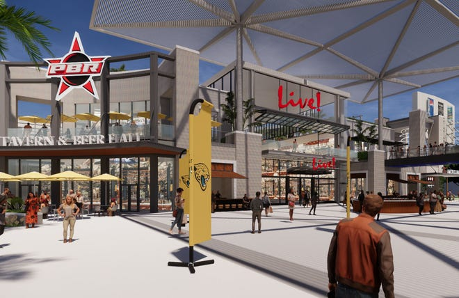 An artist rendering shows part of the planned Lot J mixed-use development near TIAA Bank Field.