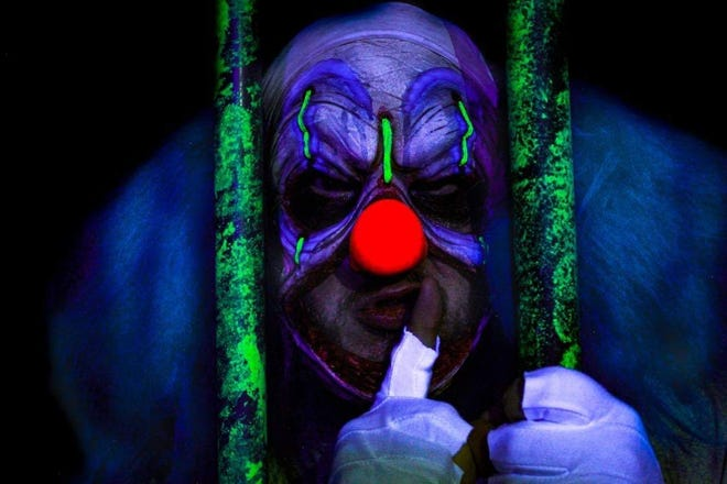 Killer clown Al Stabya is one of the scary stars of Haunt Nights at Adventure Landing.