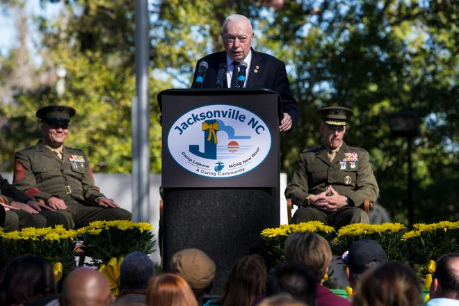 Retired Gen. Alfred M. Gray Jr., the 29th Commandant of the Marine Corps, delivers his remarks during the 36th Beirut Memorial Observance Ceremony at the Lejeune Memorial Gardens in Jacksonville, N.C., Oct. 23, 2019. The memorial observance is held annually on Oct. 23 to remember the lives lost due to the terrorist attacks at U.S. Marine Barracks in Beirut, Lebanon and in Grenada.