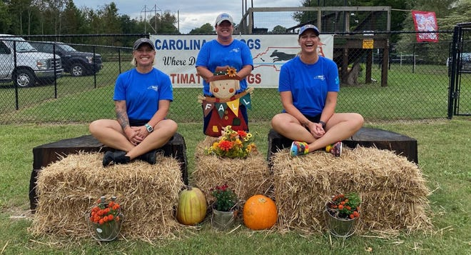 Volleyball coaches Kim Miller, center, and Heather Moore, right, along with Moore's wife, Dawn Jauernik, have been participating in Dog Dock Diving. [Contributed Photo]